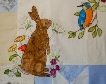 Printed Summer wreath BOM Month 4 Kingfisher and bunny
