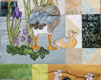 PDF pattern for Block of the month 3 goose, gosling, iris, violets, black cap raw edge applique tutorial free motion embroidery