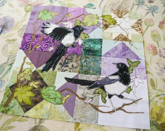 "PDF pattern for Magpie two for joy 12"" square raw edge applique tutorial free motion embroidery clematis purple batik sycamore"