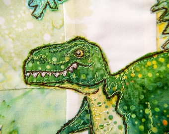 PDF pattern for Dinosaur scene lampshade raw edge applique free motion embroidery. Tyrannosaurus Rex, triceratops