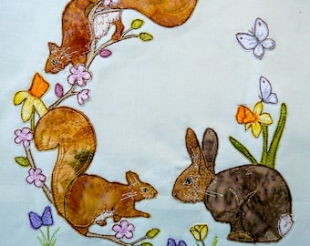PDF pattern for Ellie's rainbow quilt part 5 bunnie and squirrels raw edge applique tutorial free motion embroidery