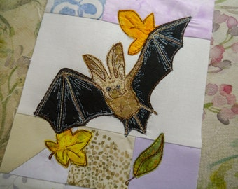 PDF pattern Block of the month 16 fourth border beaver mole bat raw edge applique tutorial free motion embroidery