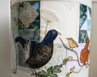 Printed pattern for Winter scene lampshade raw edge applique free motion embroidery hare grouse squirrel mouse robin nuthatch