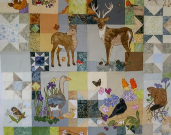 Printed pattern set for Grey Wildlife quilt free motion embroidery patchwork Inner 4 patterns plus borders