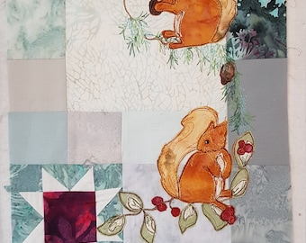 Printed pattern for the Winter Hedgerow Block 3 squirrels pine-needles quilt raw edge applique tutorial free motion embroidery