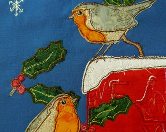 PDF pattern for Winter robins and post box raw edge applique tutorial free motion embroidery