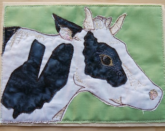 Printed pattern for Daisy the cow farm raw edge applique tutorial free motion embroidery