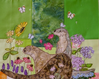 PDF pattern Tree of Life BOM Month 8 Late summer otters quilt applique pattern
