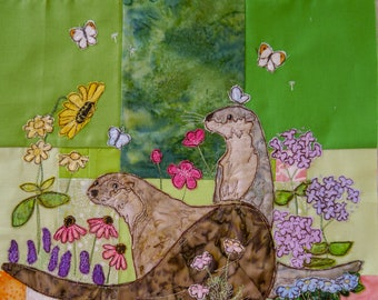 Fabric kit and Printed pattern Tree of Life BOM Month 8 Late summer otters quilt applique pattern