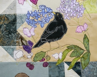 PDF pattern for Block of the month 6 blackbird s goose, gosling, iris, violets, black cap raw edge applique tutorial free motion embroidery