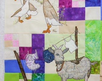 PDF pattern Farmyard Rainbow Block 6 Goat and ducks (Free motion embroidery, raw edge applique, quilt)
