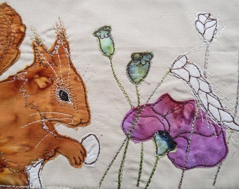 Printed pattern for harvest squirrel with poppy raw edge applique tutorial free motion embroidery