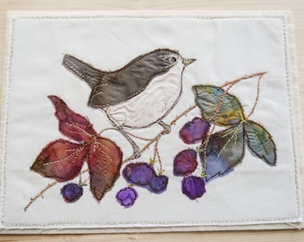 Printed pattern Wren and blackberry embroidery raw edge applique free motion embroidery