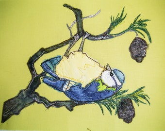 printed pattern for Bluetit and pine cones raw edge applique tutorial free motion embroidery