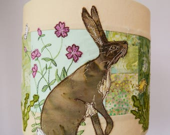 PDF pattern for hare and dandelion lampshade raw edge applique tutorial free motion embroidery