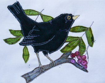 Printed  pattern for Blackbird with berries raw edge applique tutorial free motion embroidery