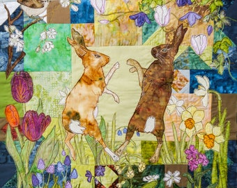 Printed pattern for Boxing hares spring wall hanging applique raw edge free motion