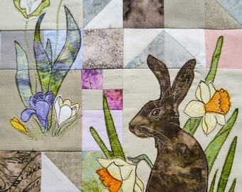 Printed pattern for Rainbow Sherbet Block 1 hare free motion embroidery patchwork
