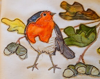 Fabric kit and pattern for Robin with acorns raw edge applique tutorial free motion embroidery