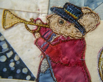 Full kit and Printed pattern for Beside the seaside Victorian Mice block 4 brass band raw edge applique tutorial free motion embroidery