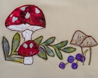 Printed pattern for Autumn Toadstools raw edge applique tutorial free motion embroidery