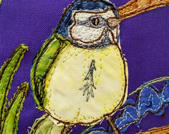 PDF pattern for A Study in Lilac block 5 bluetit and squirrel raw edge applique tutorial free motion embroidery