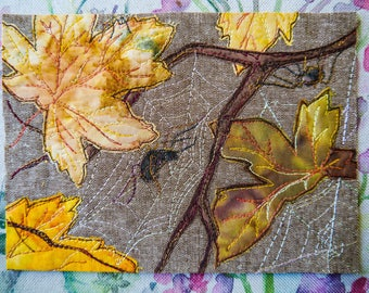 PDF for spiders and autumn leaves raw edge applique tutorial free motion embroidery