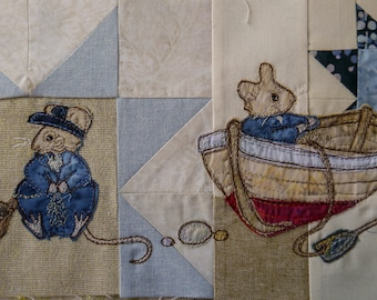 Fabric kit and Printed pattern for Beside the seaside 6  Victorian Mice Fisher mice raw edge applique tutorial free motion embroidery