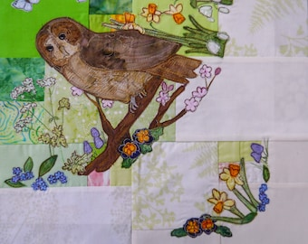 Printed Tree of Life BOM Month 3  early spring tawny owl quilt applique pattern