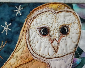 Printed  pattern for the Winter Hedgerow Block 4 barn owl, bluetit pine-needles quilt raw edge applique tutorial free motion embroidery