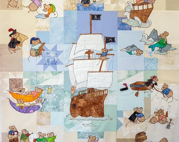 Featured listing image: Full printed pattern set for Captain Harry Elm  pirate Blocks 1 to  6 quilt raw edge applique tutorial free motion embroidery