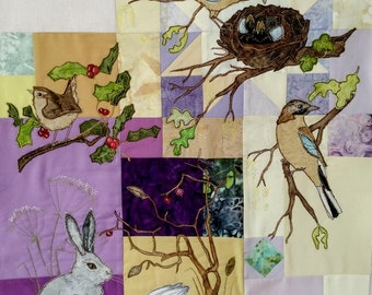 PDF pattern Block of the month 15 third border jays nest ducks duckling raw edge applique tutorial free motion embroidery