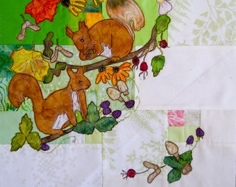 Printed pattern Tree of Life BOM Month 7  early autumn squirrels quilt applique pattern
