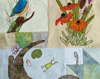 PDF pattern for Block of the month 5 otter, kingfisher bulrushes frog fish raw edge applique tutorial free motion embroidery