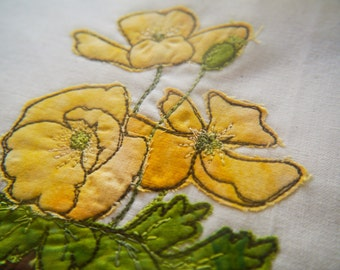 Welsh poppy yellow flower pot Digital pattern TEMPLATE only ( no instructions) for free motion embroidery , raw edge appliue