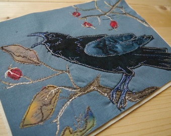 PDF pattern for Winter Crow raw edge applique tutorial free motion embroidery