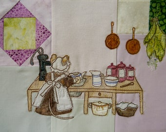 Printed  pattern for Block 2 Life in the Town Victorian Mice Scullery Maid Mabel kitchen raw edge applique tutorial free motion embroidery