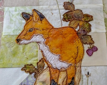 Fabric kit with Printed pattern for Highlands quilt block 3 Fox and toadstools raw edge applique tutorial free motion embroidery