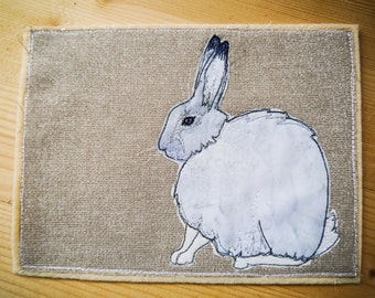 PDF Pattern for Arctic hare raw edge applique tutorial free motion embroidery