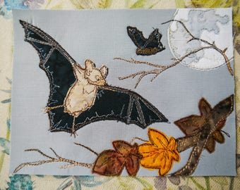 Printed pattern for bats and moon raw edge applique tutorial free motion embroidery