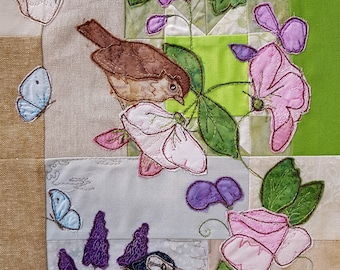 Printed pattern for the secret garden block 4 bluetit and sparrow roses quilt raw edge applique tutorial free motion embroidery