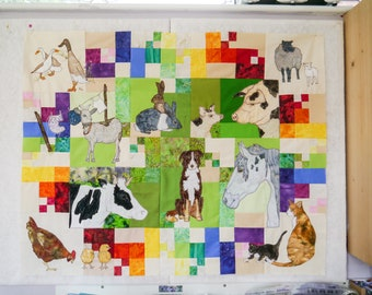Full printed pattern Farmyard Rainbow Blocks 1 to 6 (Free motion embroidery, raw edge applique, quilt)