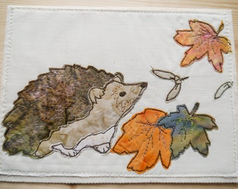 Printed pattern Hedgehog and leaves embroidery raw edge applique free motion embroidery
