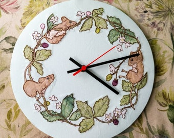 Printed pattern for 30cm Mice and blackberries clock raw edge applique free motion embroidery summer, brambles, whimsy, whimsical