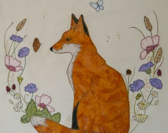 Fabric Kit and Printed pattern for Balitmore fox raw edge applique tutorial free motion embroidery