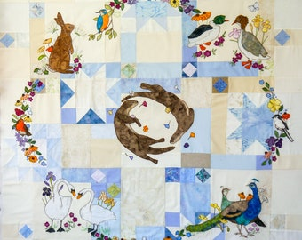 Full Fabric kit and Printed pattern for Summer Wreath quilt parts 1 to 9 raw edge applique tutorial free motion embroidery