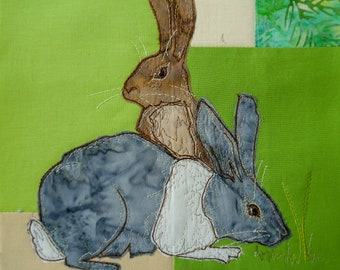 Printed pattern Farmyard Rainbow Block 1 Rabbits (Free motion embroidery, raw edge applique, quilt)