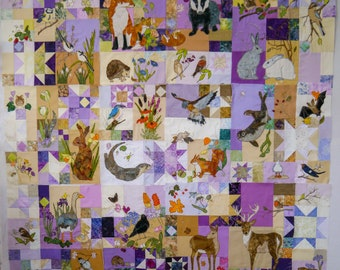 Fabric and pattern set for BoM English wildlife free motion embroidery patchwork Full pattern set