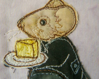 PDF pattern for Block 8 Life in the Town Victorian Mice Lord Conkerly in the library raw edge applique tutorial free motion embroidery