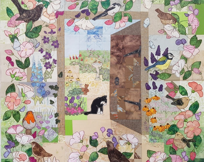 Featured listing image: Full PDF pattern for the Secret Garden Blocks 1 to  6 quilt raw edge applique tutorial free motion embroidery